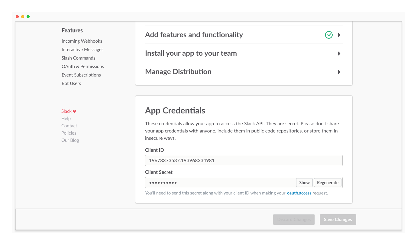 App Credentials